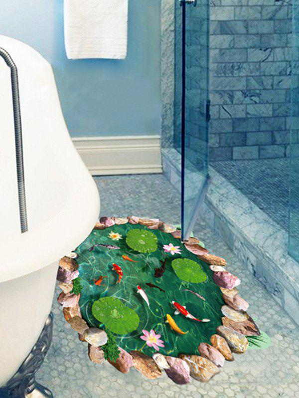 Sale Lotus Pool Fishes Print Decorative Floor Art Sticker