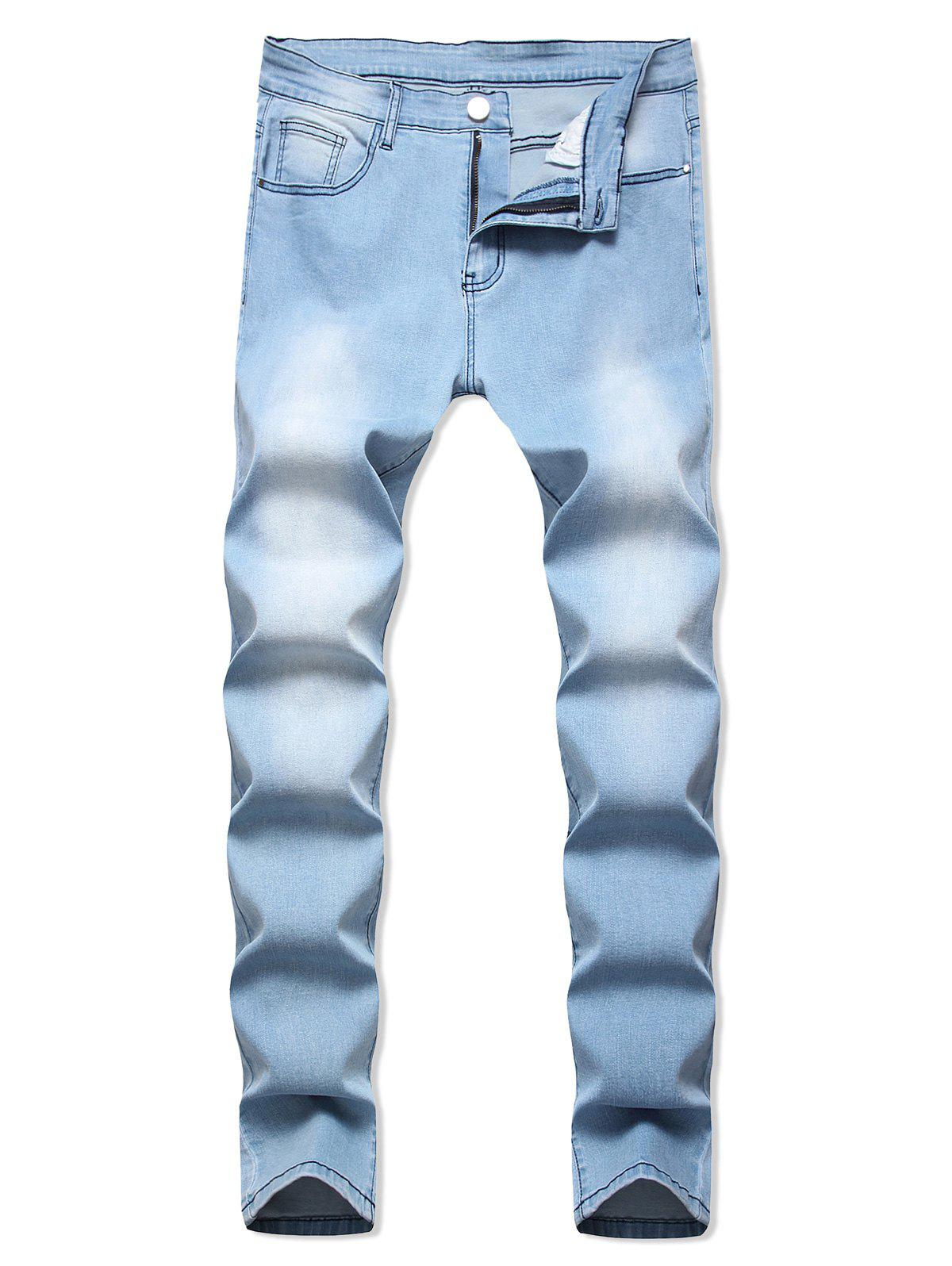 Outfits Light Wash Zip Fly Casual Jeans
