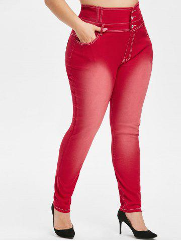 Skinny   Button   Rise   Jean   High   Plus   Size