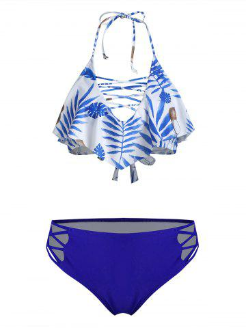 Halter Leaf Coconut Lattice Flounce Bikini Swimsuit