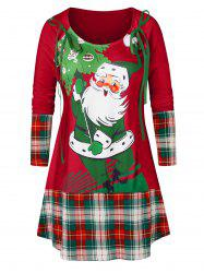 Plus Size Christmas Santa Claus Print Plaid T Shirt -