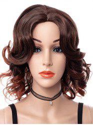 Center Part Curly Medium Synthetic Wig -