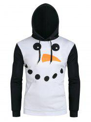 Christmas Snowman Graphic Front Pocket Casual Hoodie -