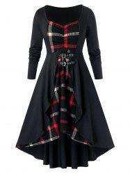 Plus Size Plaid High Low Dress -
