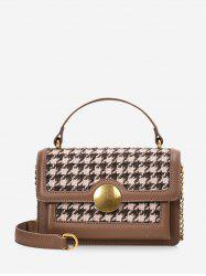 Round Buckle Houndstooth Print Tote Bag -