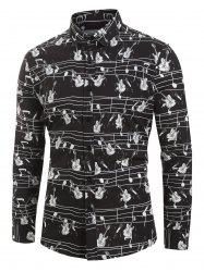 Plus Size Music Instruments Print Button Long Sleeve Shirt -