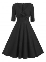 Cuffed Sleeves V Neck Solid Dress -