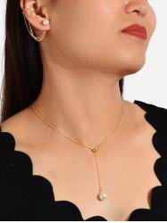 Faux Pearl Brief Chain Necklace Earring Set -