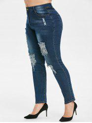 Plus Size Ripped High Waisted Jeans -