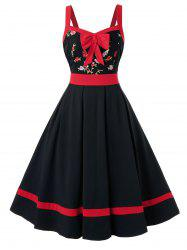 Plus Size Flower Embroidered Bowknot Sweetheart Dress -