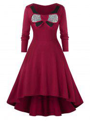 Plus Size Sequined High Low Colorblock Dress -