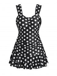 Polka Dot Ruched Peplum One-piece Swimsuit -