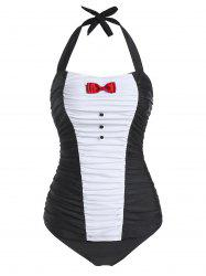 Halter Two Tone Ruched Tankini Swimsuit -
