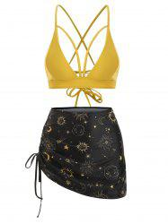 Sun Star Moon Cinched Lace-up Three Piece Swimsuit -
