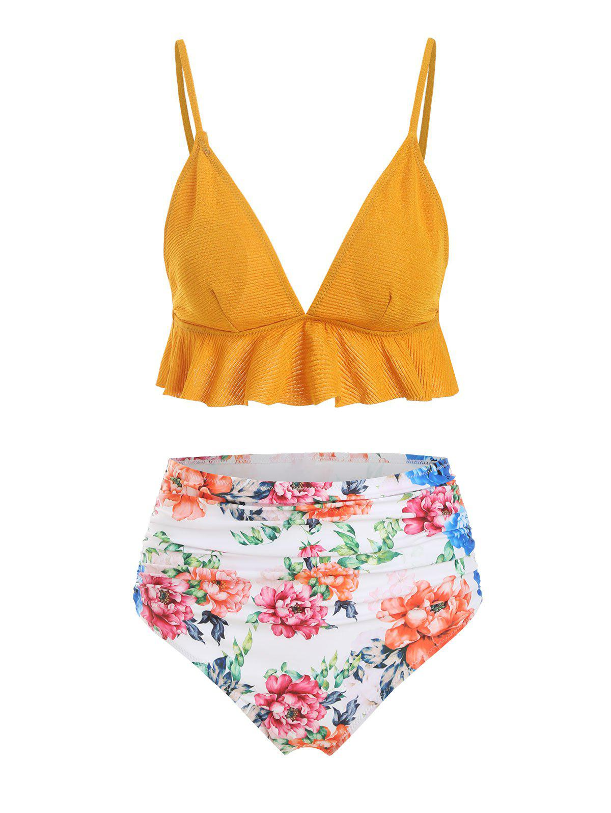 Affordable Crinkly Flounce Ruched Floral High Waisted Bikini Swimsuit