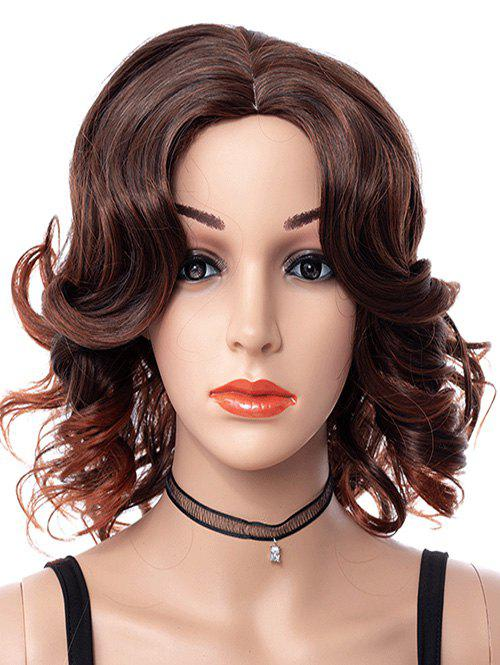 Store Center Part Curly Medium Synthetic Wig