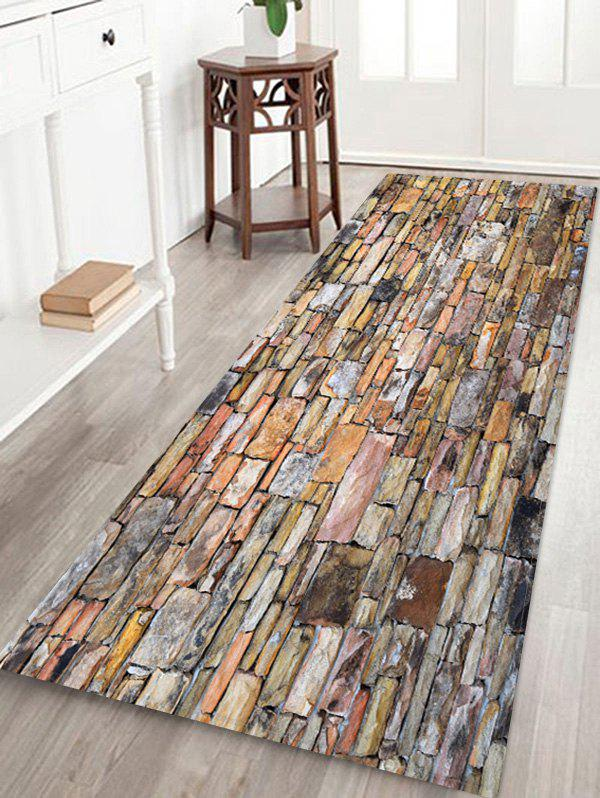 Store Stone Brick Wall Pattern Water Absorbing Area Rug