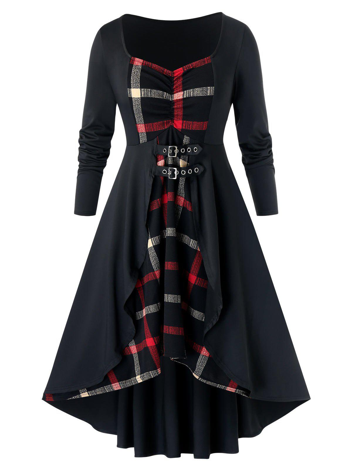 Online Plus Size Plaid High Low Dress