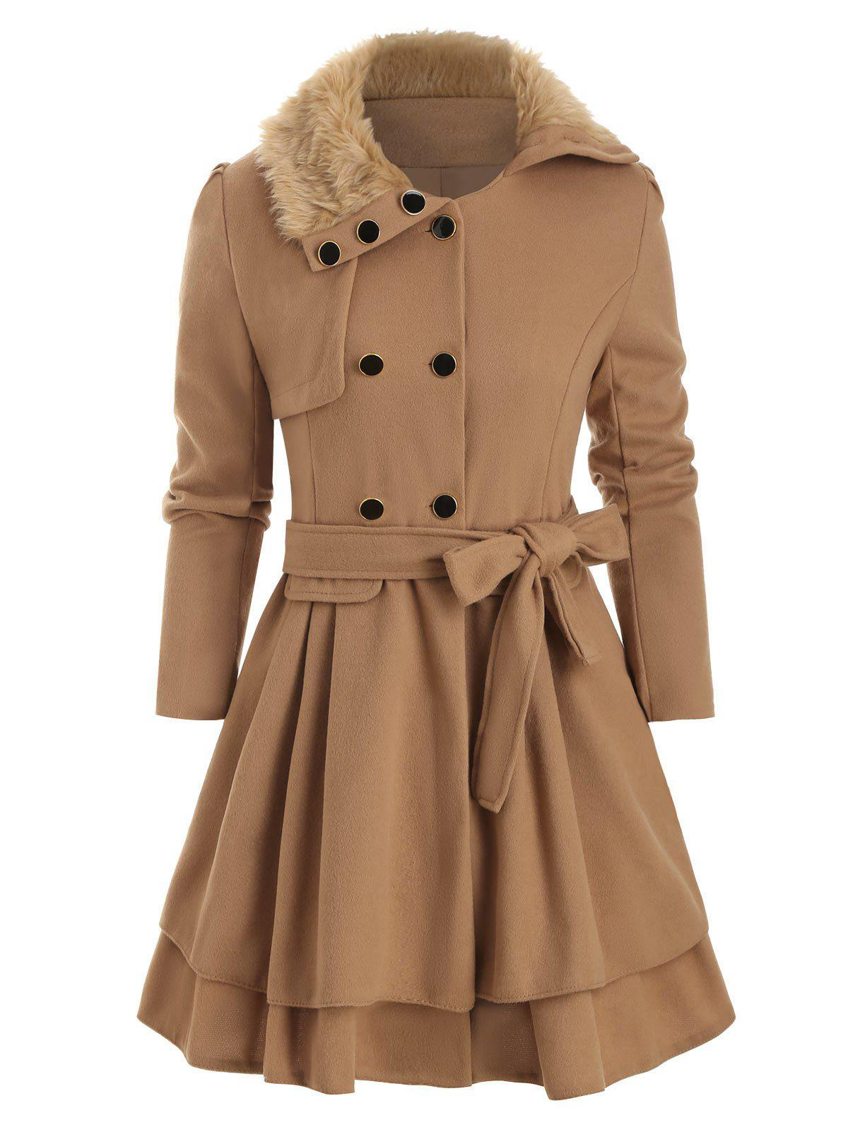 Shop Faux Fur Collar Double Breasted Belted Wool Blend Coat