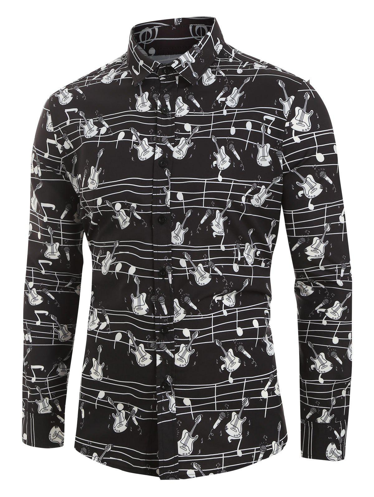 Outfits Plus Size Music Instruments Print Button Long Sleeve Shirt