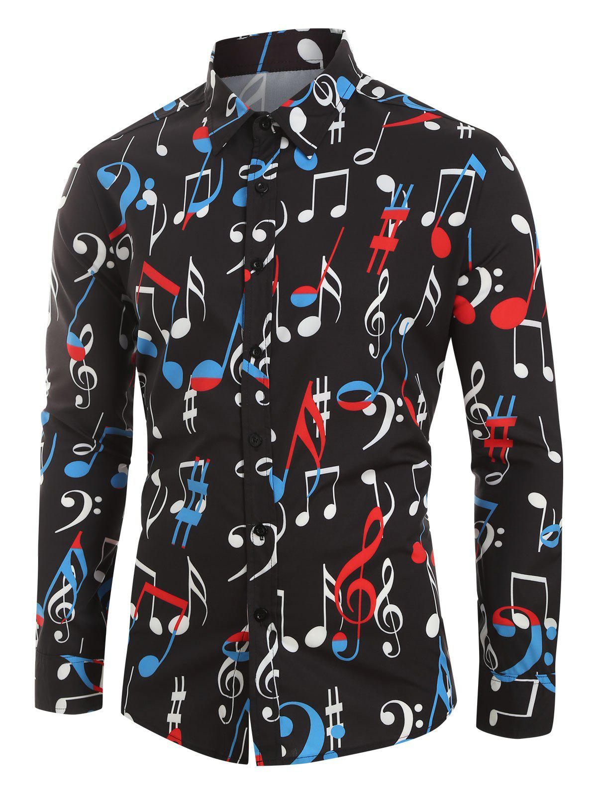 New Plus Size Music Note Print Button Long Sleeve Shirt