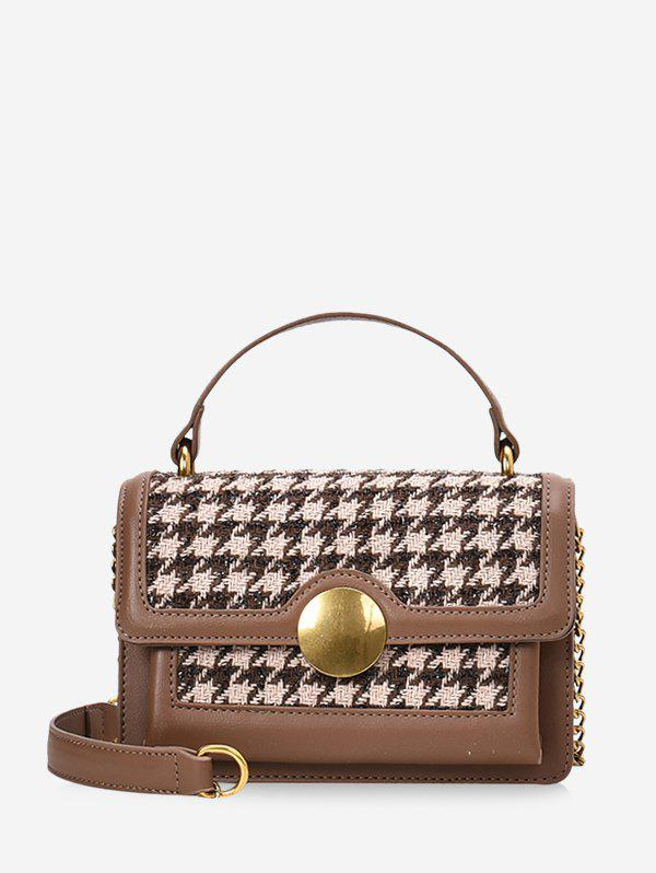 Shops Round Buckle Houndstooth Print Tote Bag