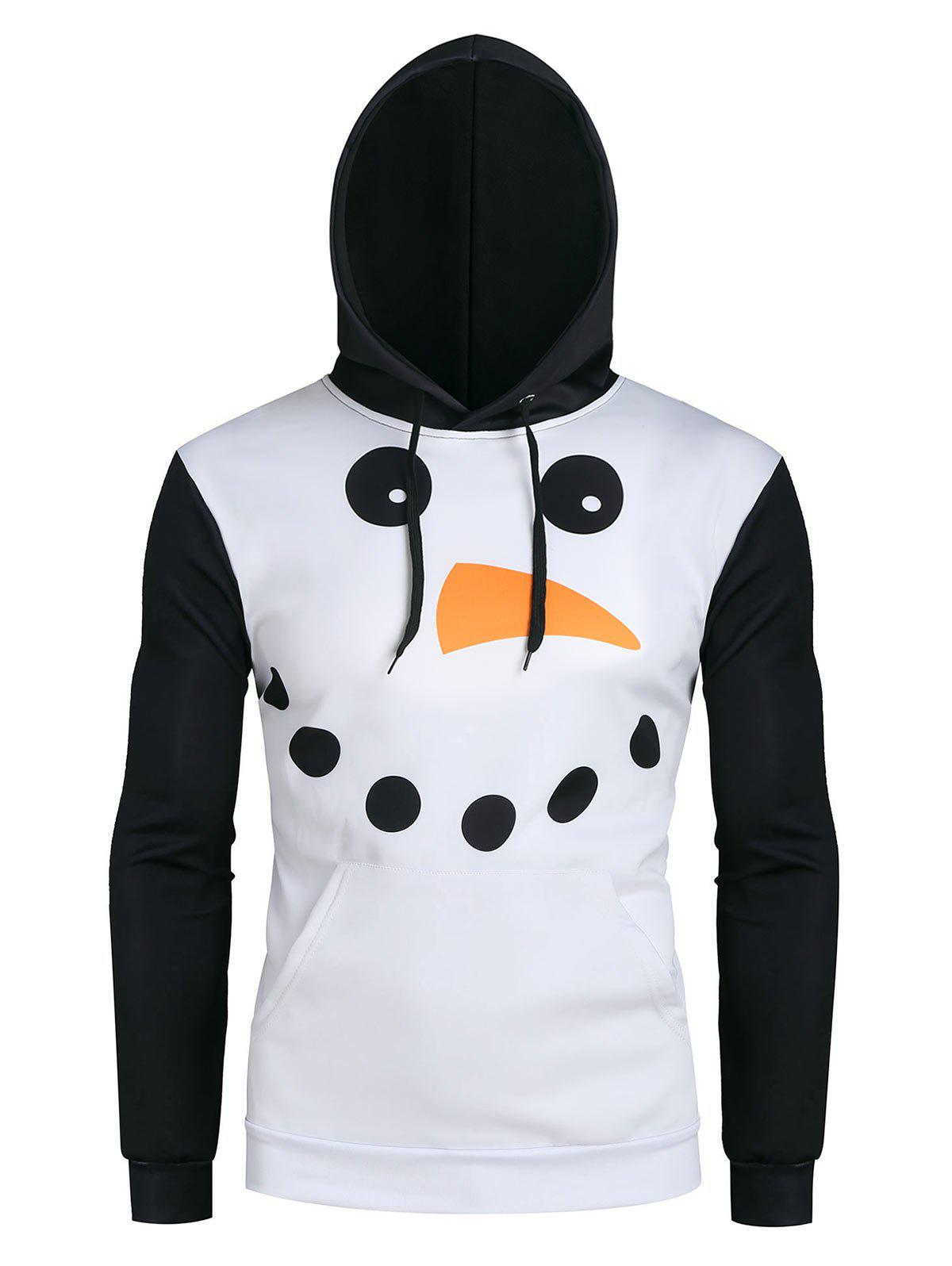 Buy Christmas Snowman Graphic Front Pocket Casual Hoodie