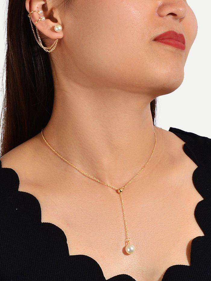 Online Faux Pearl Brief Chain Necklace Earring Set
