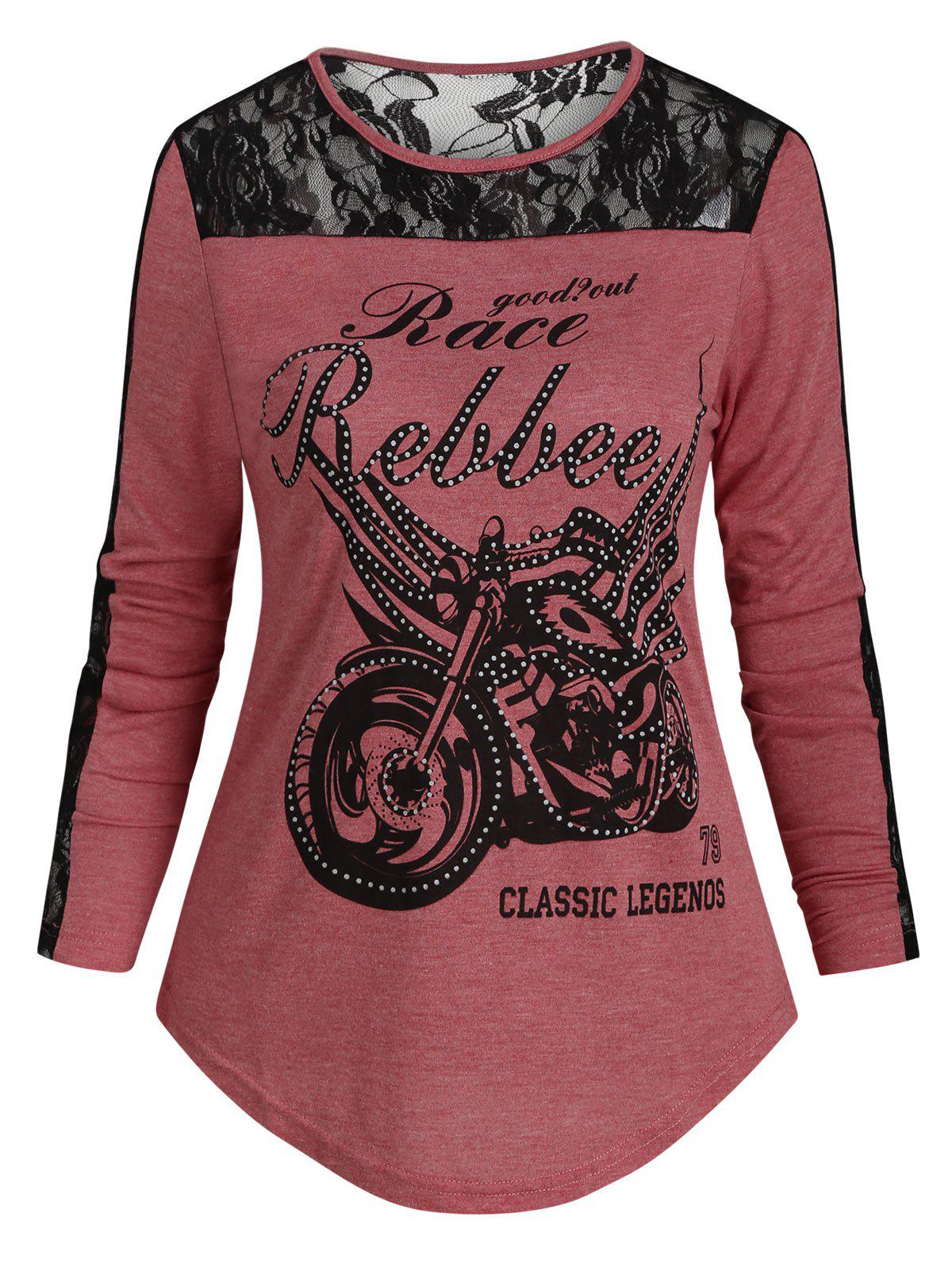 Lace Panel Motorcycle Letter Long Sleeves Tee 中性品牌
