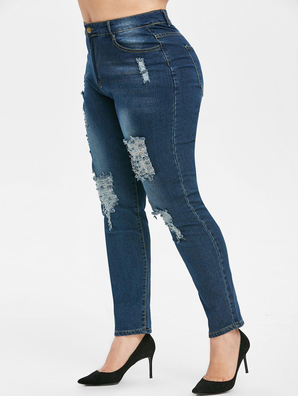 Latest Plus Size Ripped High Waisted Jeans