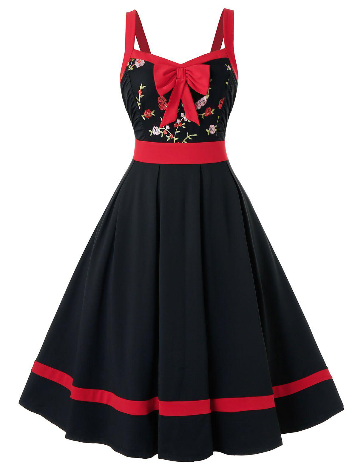 Cheap Plus Size Flower Embroidered Bowknot Sweetheart Dress