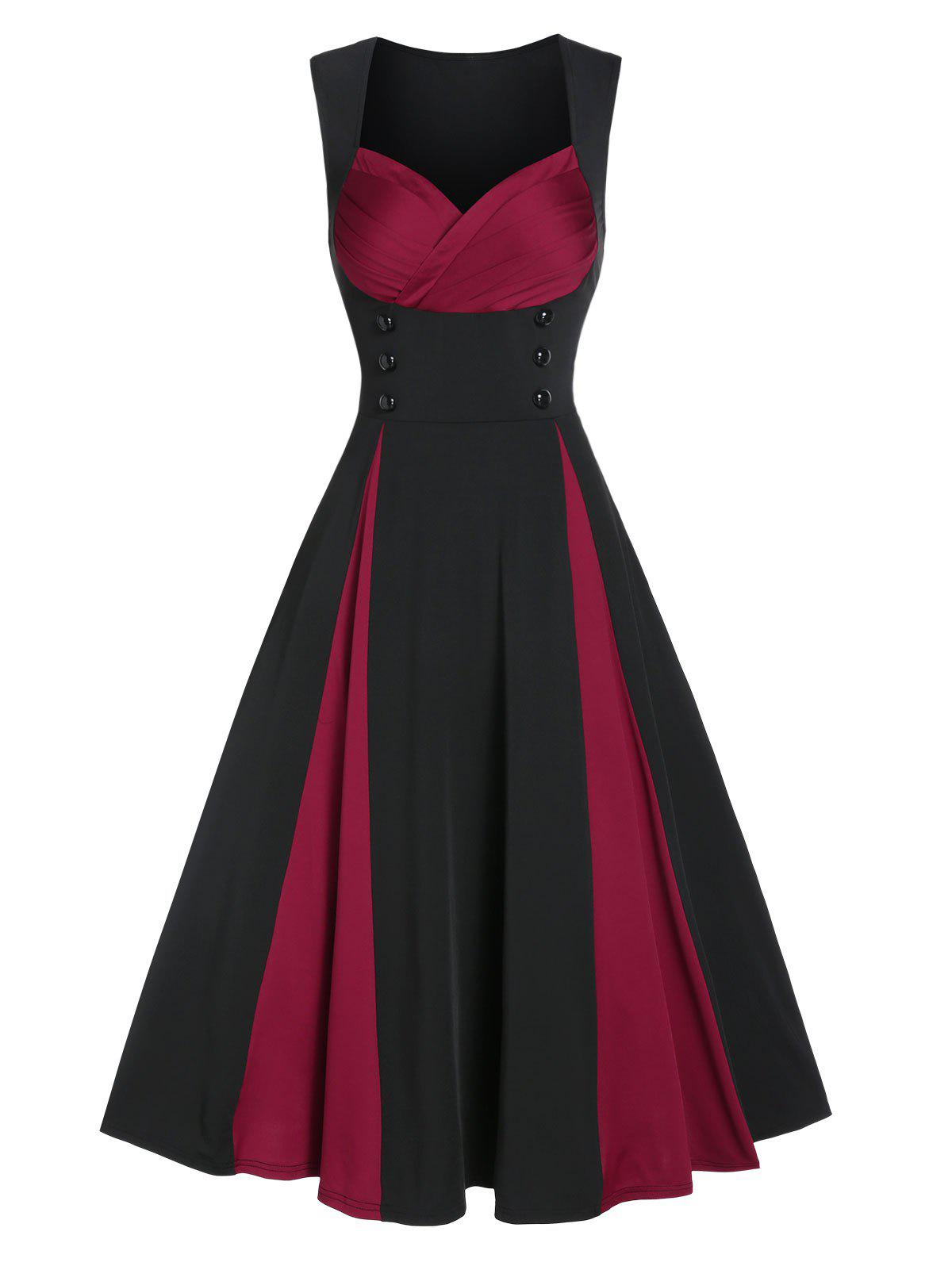 Shops Sleeveless Mock Button Contrast Vintage Prom Dress