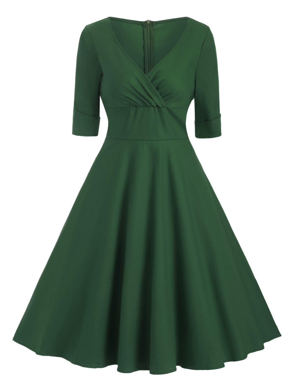 Unique Cuffed Sleeves V Neck Solid Dress
