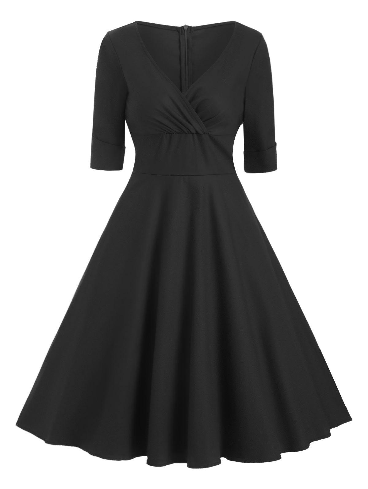 Shops Cuffed Sleeves V Neck Solid Dress