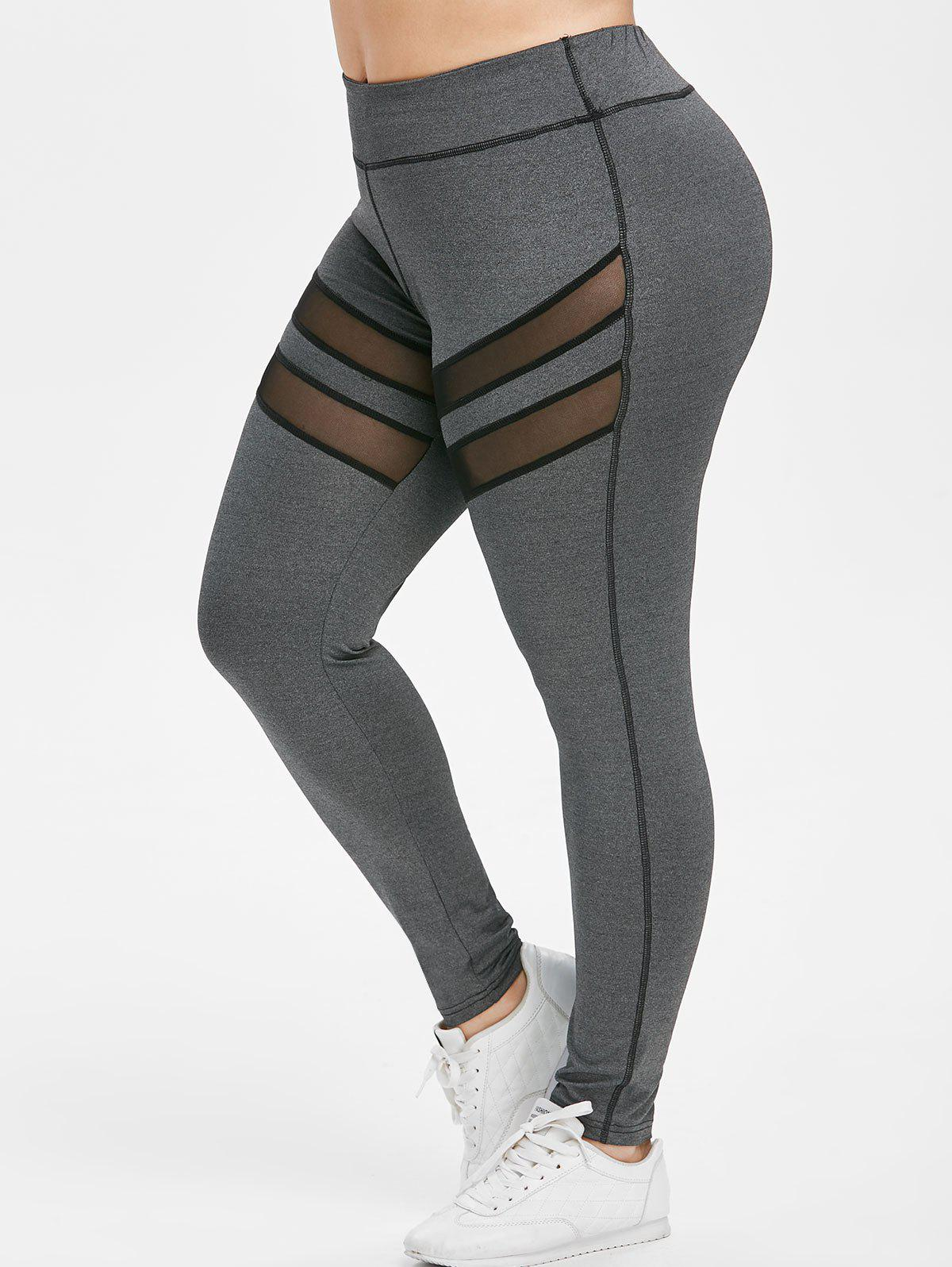 Discount Plus Size Mesh Panel Workout Leggings