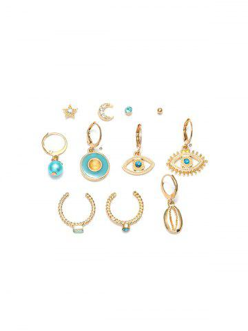 11Pcs Hollow Eye Moon Shell Earrings Set
