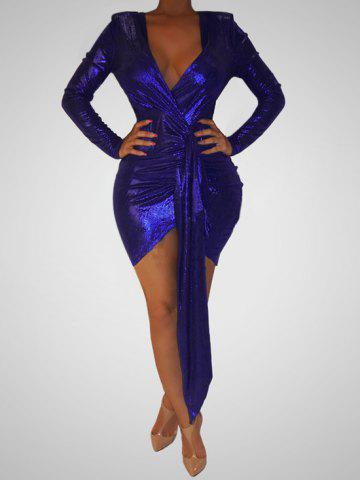 Sparkly Drape Front Plunging Bodycon Dress - DEEP BLUE - M