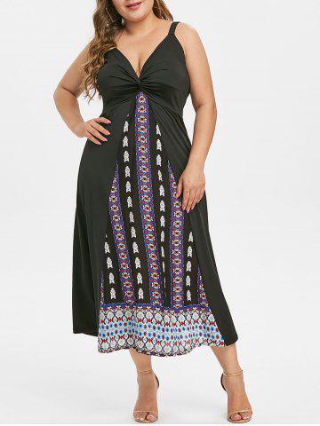 Sleeveless Twisted Front Printed Plus Size Dress - BLACK - L