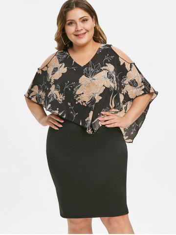 Side Zipper Floral Overlay Plus Size Bodycon Dress