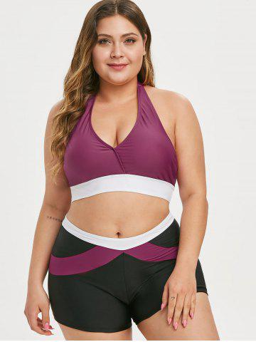 Halter Colorblock Plus Size Bikini Swimsuit