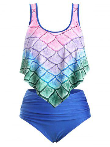 Plus Size Ombre Mermaid Print Overlay Tankini Swimsuit - BLUE - 4X