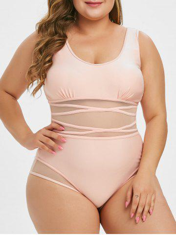 Plus Size Mesh Panel Piping One-piece Swimsuit - PINK - L