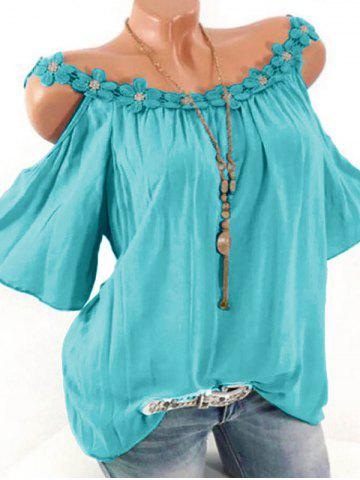 Plus Size Lace Applique Open Shoulder T Shirt - SKY BLUE - 4X