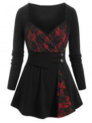 Cross Front Lace Panel Buttoned Plus Size Top -