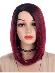Side Parting Ombre Straight Medium Bob Synthetic Wig -