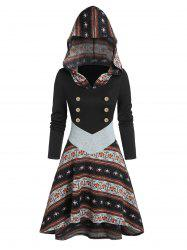 Printed Button High Low Hooded Dress -