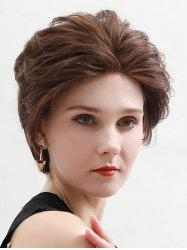 Straight Human Hair Lace Front Short Fluffy Wig -