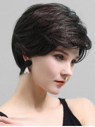 Side Part Short Layered Straight Human Hair Lace Front Wig -