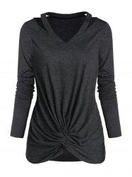 Twist Front V Neck Cut Out Heathered T-shirt -