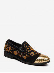 Floral Embroidery Slip On Business Shoes -
